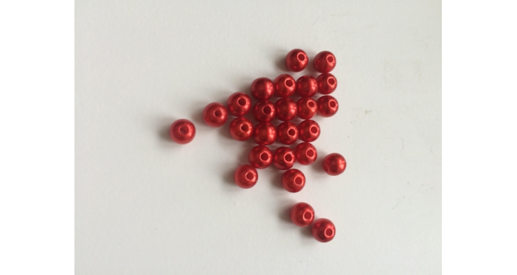 Бусина с отверсиями цвет красный 6мм.