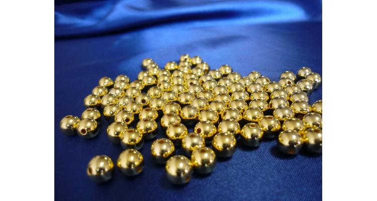 Бусина с отверстиями цвет золото 6мм