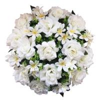 100_400 Венок в сборе ф-34 см., 13 голов роза с альстромерией, цв. Белый