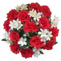 100_400 Венок в сборе ф-34 см., 13 голов роза с альстромерией, цв. Бордо