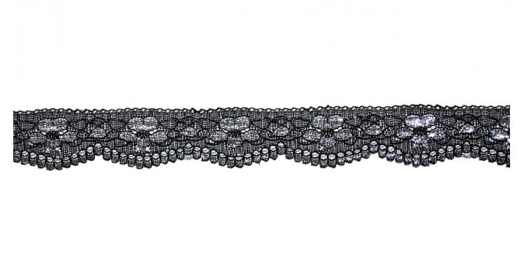 Кружево 2879 черное с серебром 2,5 см