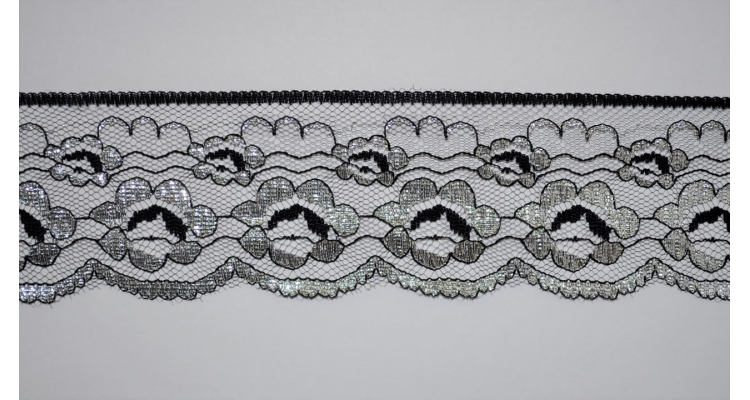 Кружево 960 черное серебро