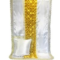 7020 Комплект с жемчугом  Буф-Цветок (Белый с золотом)
