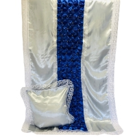 7020 Комплект с жемчугом Буф-Цветок (Серебро с синим)