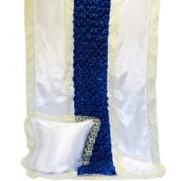 7020 Комплект с жемчугом Буф-Цветок (Белый с синим)