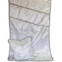 7017 Комплект парча с тесьмой серебро
