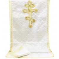 7515 Комплект СТЕЖКА С КРУЖЕВОМ (белый с золотом) КРЕСТ ПРАВОСЛАВНЫЙ БОЛЬШОЙ