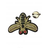 Аппликация  пришивная Пчела Гуччи с бисером
