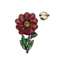 Аппликация пришивная Цветок со стразами 3,5х5,7 см
