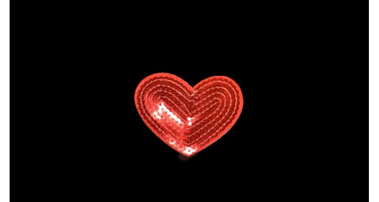 S-1203. 1 Аппликация Сердце с паетками, h-5,5 см.