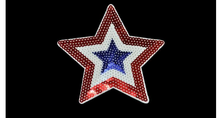 S-1288. 1 Аппликация Звезда  с пайетками большая, h-13 см.