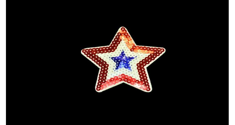 S-1288. 1 Аппликация Звезда  с пайетками малая, h-9 см.