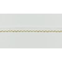 11811-G Тесьма декоративная, ш. 1 см, цв. Белый с золотом (25 ярдов)